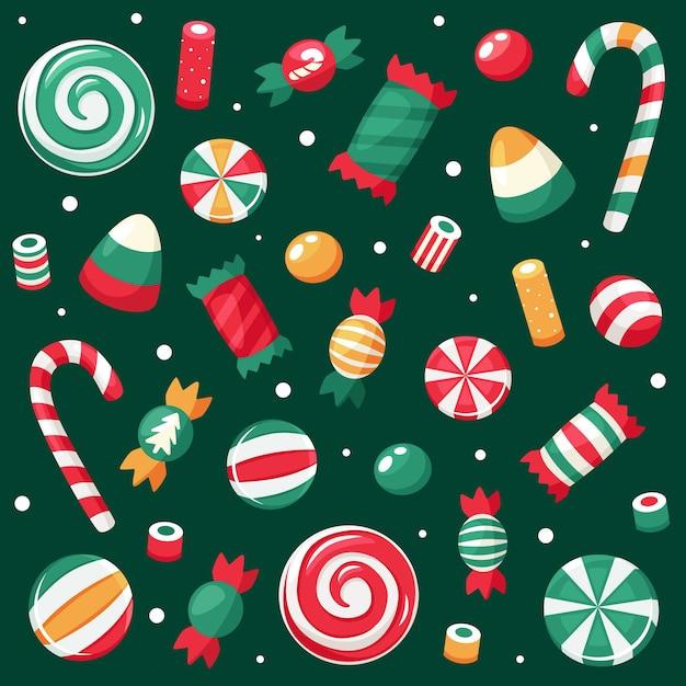Frohe weihnachten karte. weihnachtssüßigkeiten- und bonbonsammlung. Premium Vektoren