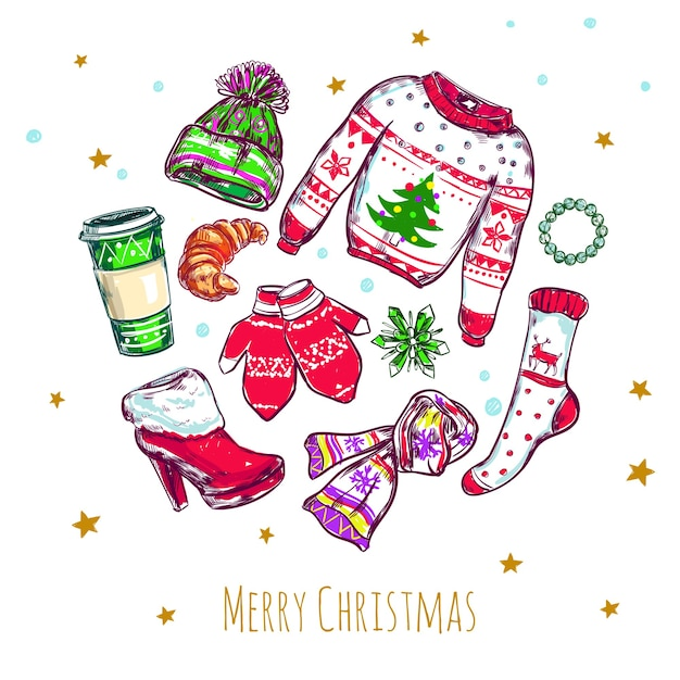 Frohe weihnachten kleidung zusammensetzung Kostenlosen Vektoren