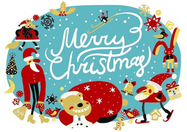 Frohe weihnachten-komposition Kostenlosen Vektoren