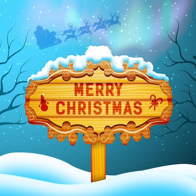 Frohe weihnachten konzept mit holzschild santa claus und nordlicht flache illustration Kostenlosen Vektoren