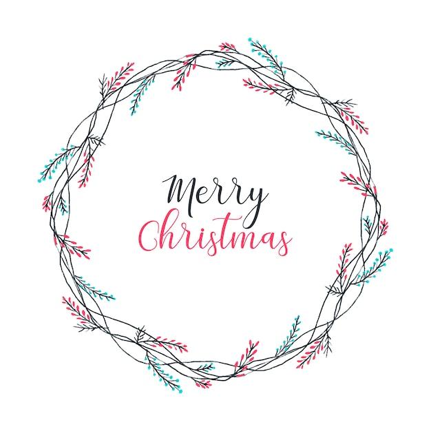 Frohe weihnachten kranz Kostenlosen Vektoren