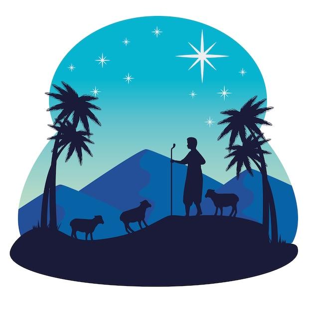 Frohe weihnachten krippe hirten und schafe design, wintersaison und dekoration Premium Vektoren