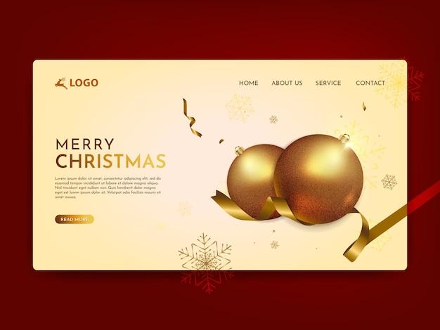 Frohe weihnachten landing page Premium Vektoren