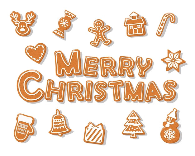 Buchstaben Frohe Weihnachten.Frohe Weihnachten Lebkuchen Plätzchenhand Gezeichnete Buchstaben