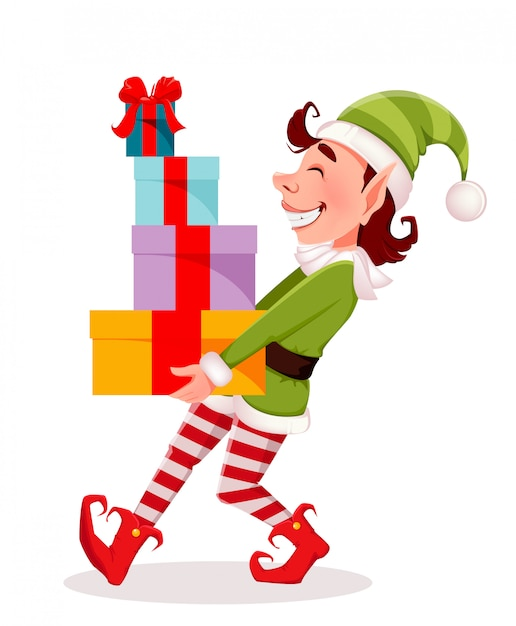 Frohe weihnachten, lustiger elf trägt geschenkboxen Premium Vektoren