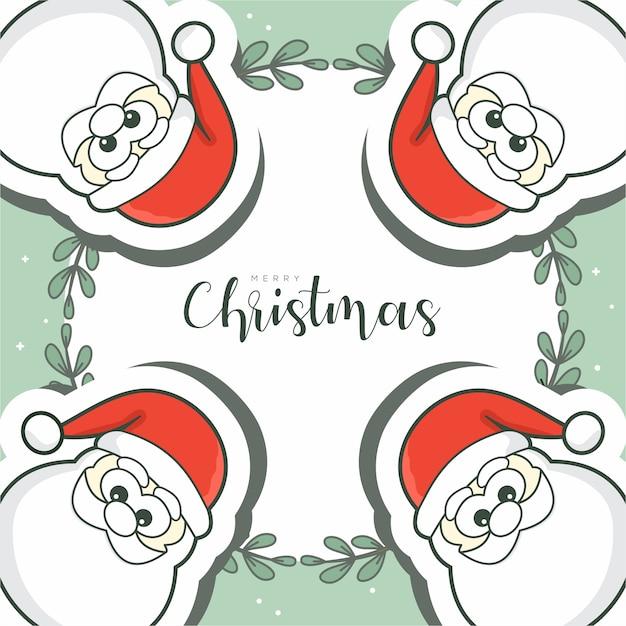 Frohe weihnachten mit 4 weihnachtsmann Premium Vektoren