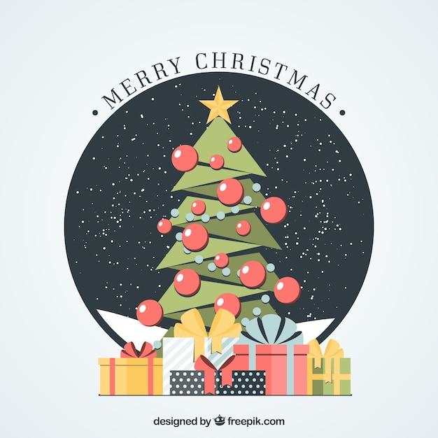 frohe weihnachten mit geometrischen weihnachtsbaum. Black Bedroom Furniture Sets. Home Design Ideas