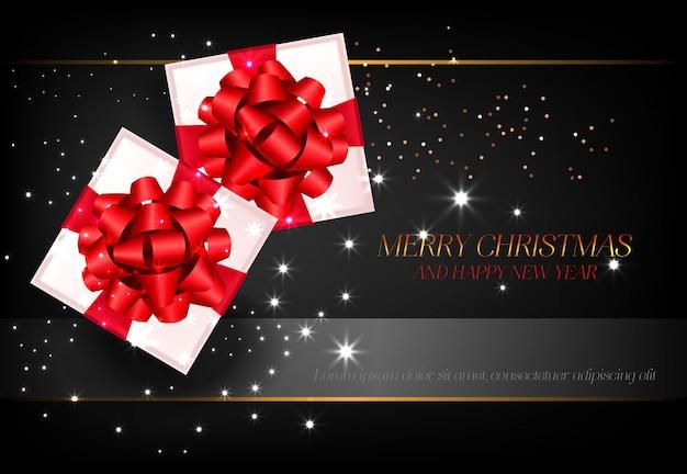 Frohe weihnachten mit geschenkboxplakatdesign Kostenlosen Vektoren