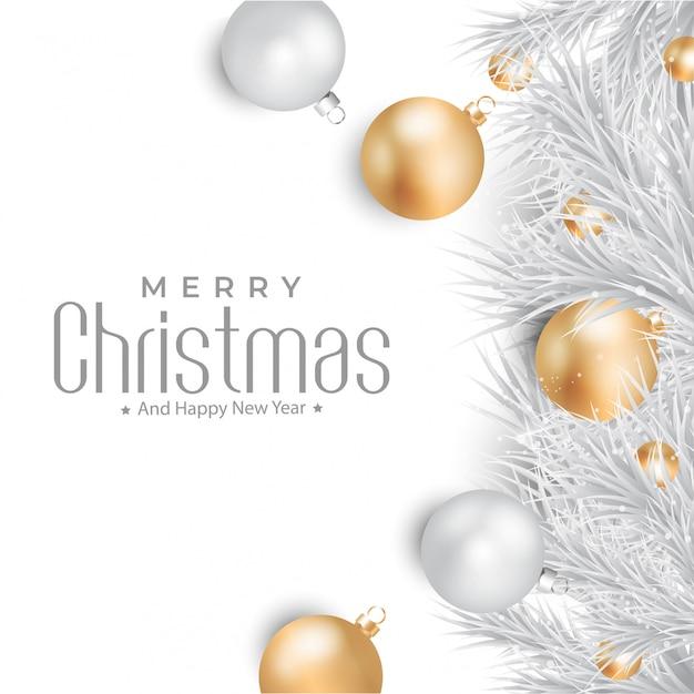 Frohe weihnachten mit gold- und silberballhintergrund Premium Vektoren