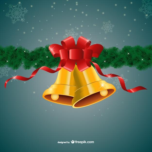 frohe weihnachten mit goldenen glocken und roter schleife. Black Bedroom Furniture Sets. Home Design Ideas