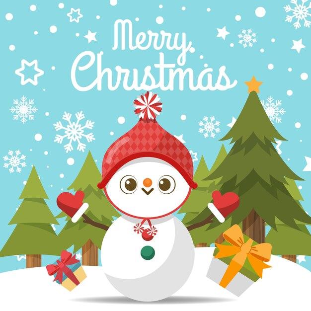 Frohe weihnachten mit karikaturschneemann im schnee. Premium Vektoren