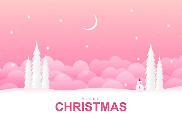 Frohe weihnachten mit mit rosa wintersaisonhintergrund Premium Vektoren