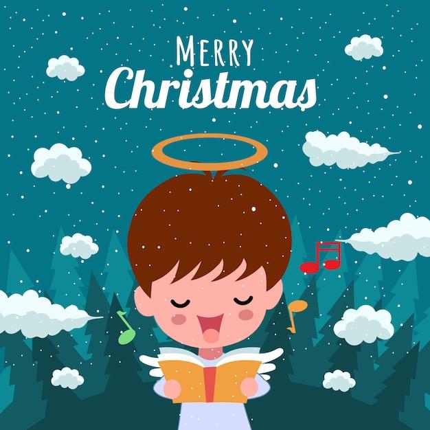 Frohe weihnachten mit nettem kawaii hand gezeichnetem engels-gesang-musical Premium Vektoren