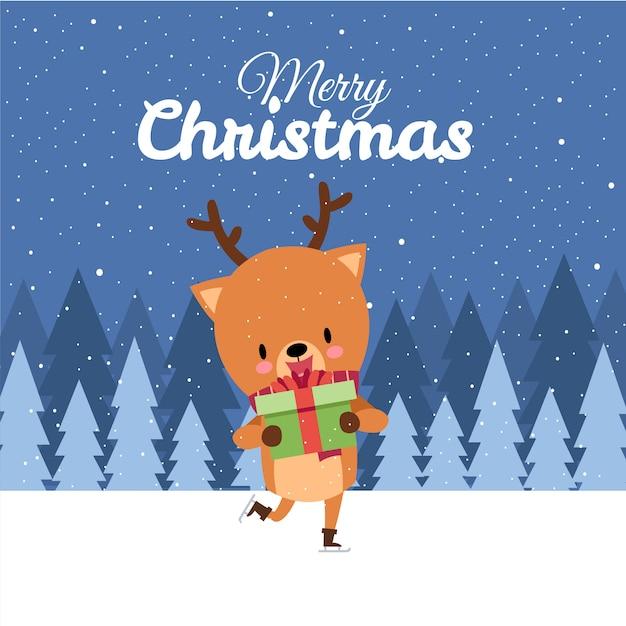 Frohe weihnachten mit netten kawaii hand gezeichneten rotwild mit rotem schal-eislauf Premium Vektoren