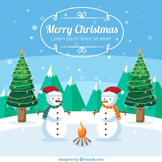Frohe weihnachten mit niedlichen schneemänner Kostenlosen Vektoren