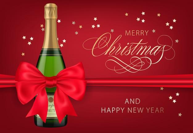 Frohe weihnachten mit rotem postkartendesign der champagnerflasche Kostenlosen Vektoren