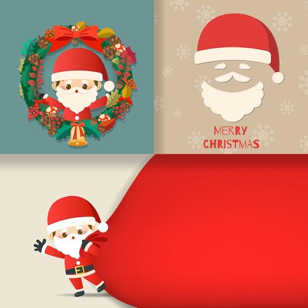 Frohe weihnachten mit satz der grußkarte, nette zeichentrickfilm-figur kleine santa claus, schneemann, weihnachtsbaum, geschenkbox, schnee auf karten. vektor-illustration. Premium Vektoren
