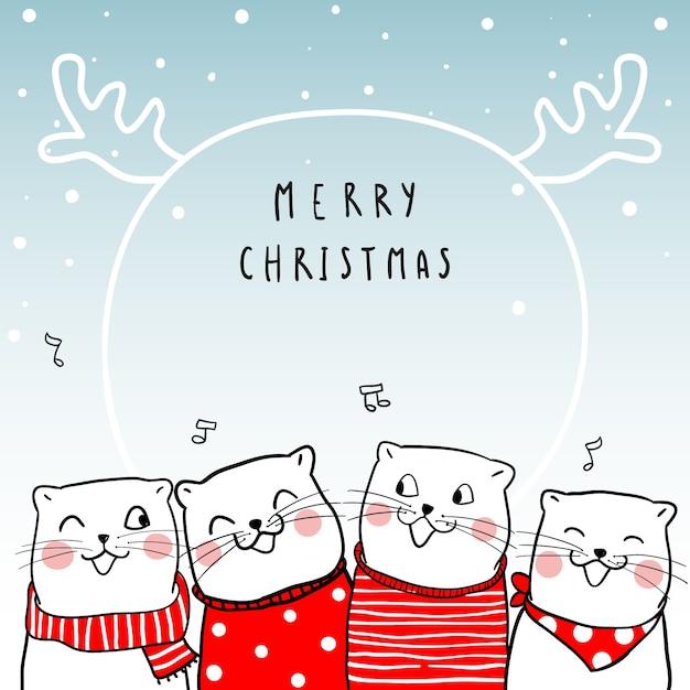 Frohe Weihnachten Katze.Frohe Weihnachten Mit Süße Katze Download Der Premium Vektor