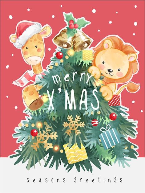 Frohe weihnachten mit weihnachtsbaum und cartoon-tier-illustration Premium Vektoren