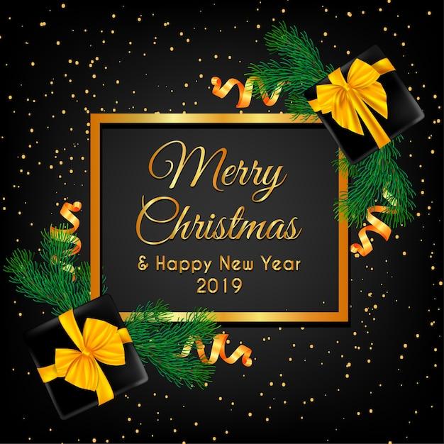 Frohe weihnachten mit weihnachtsbaum und kastengold Premium Vektoren
