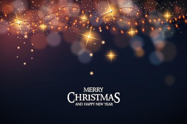 Frohe weihnachten mit weihnachtslichtern und bokeh Kostenlosen Vektoren