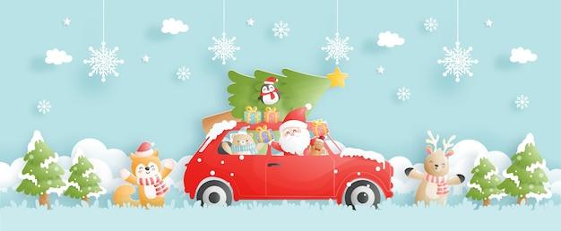 Frohe weihnachten mit weihnachtsmann, der ein auto fährt, in papierschnittartvektorillustration. Premium Vektoren