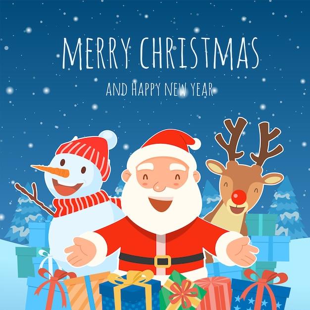 Frohe weihnachten mit weihnachtsmann geschenke vorlage grußkarte Kostenlosen Vektoren