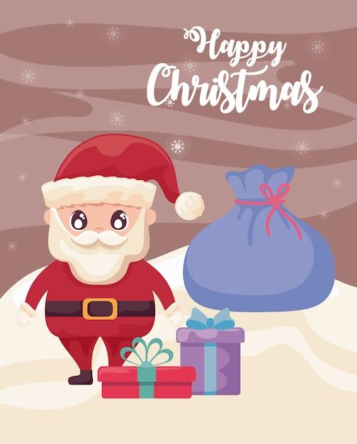 Frohe weihnachten mit weihnachtsmann mit geschenkboxen auf winterlandschaft Premium Vektoren