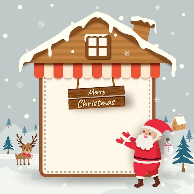 Frohe weihnachten mit weihnachtsmann- und hausrahmen auf schneehintergrund. Premium Vektoren