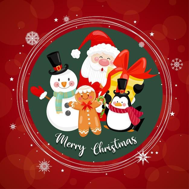 Frohe weihnachten mit weihnachtsmann und verschiedenen geschenkboxen auf dem schnee mit haus und mond als. Kostenlosen Vektoren