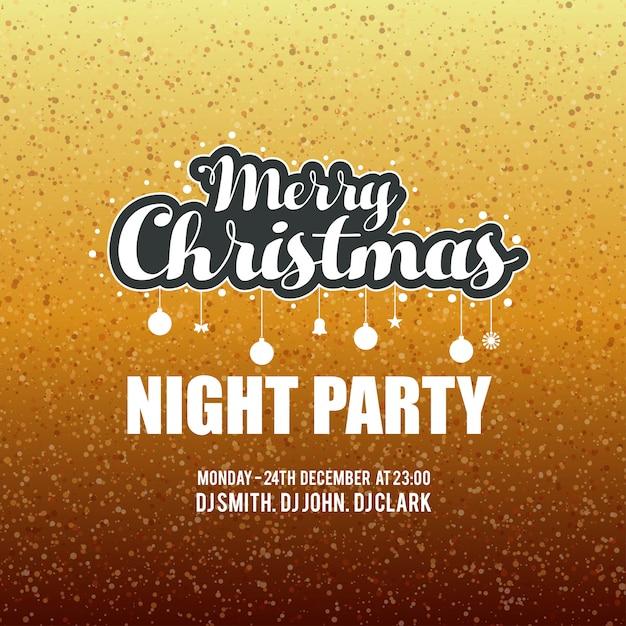 Frohe weihnachten nacht party funkeln hintergrund Kostenlosen Vektoren