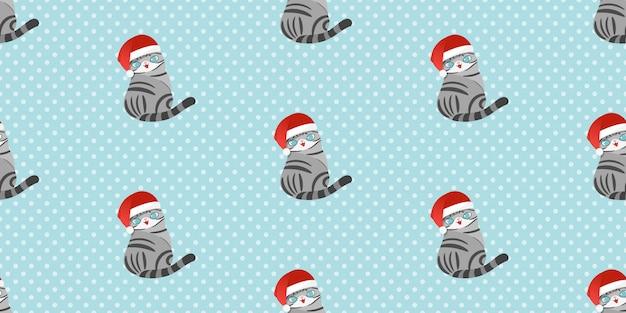 Frohe weihnachten, nahtloses muster weihnachtsmann-katze. Premium Vektoren