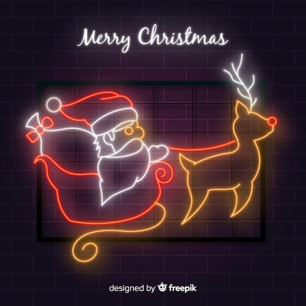 Frohe weihnachten neonhintergrund Kostenlosen Vektoren