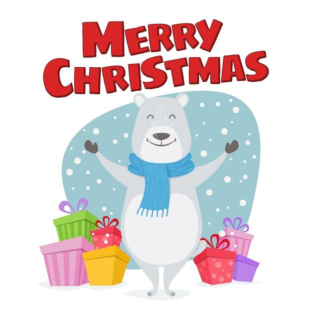 Frohe weihnachten niedliche illustration. glücklicher eisbär mit geschenken wünscht frohe weihnachten. Premium Vektoren