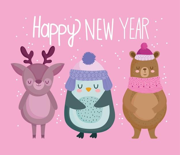 Frohe weihnachten, niedliche pinguin-rentier- und bärentierkarikaturvektorillustration Premium Vektoren