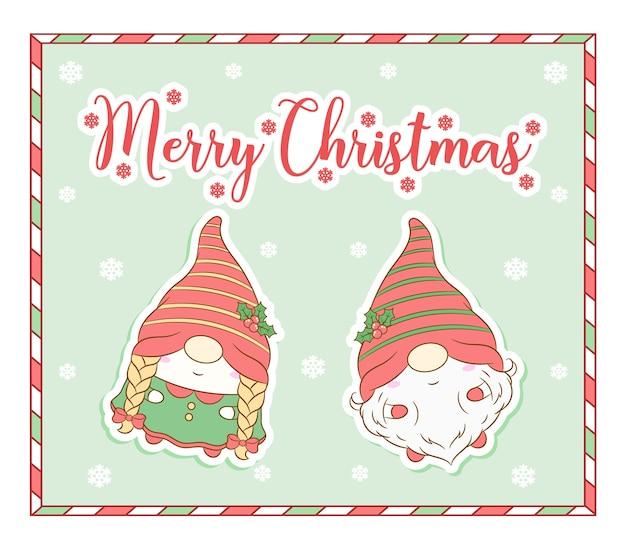 Frohe weihnachten niedliche zwerge zeichenkarte mit rahmen Premium Vektoren