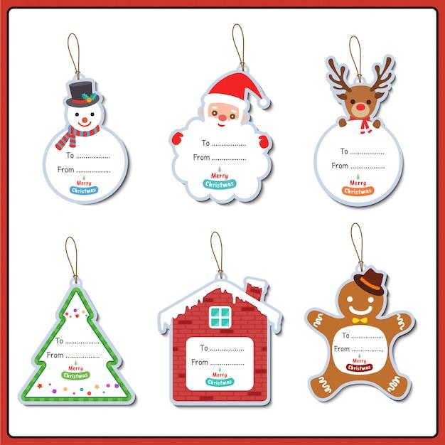 Frohe weihnachten ornamente set-design-tag für grußkarte. Premium Vektoren