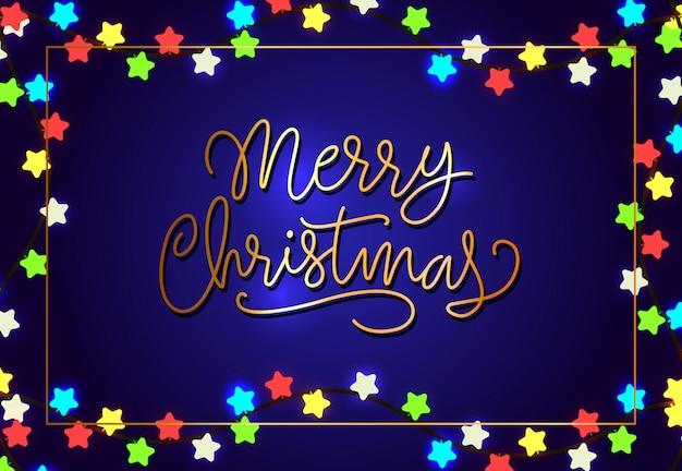 Frohe weihnachten-plakatgestaltung. sternförmige lichter Kostenlosen Vektoren