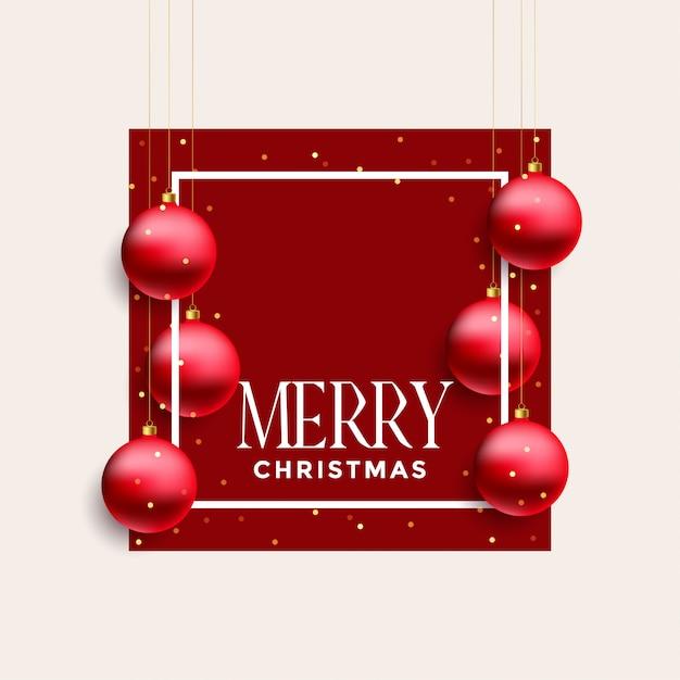 frohe weihnachten rahmen mit roten kugeln h ngen. Black Bedroom Furniture Sets. Home Design Ideas