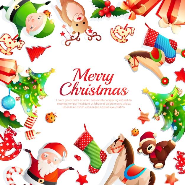Frohe weihnachten rahmen Kostenlosen Vektoren