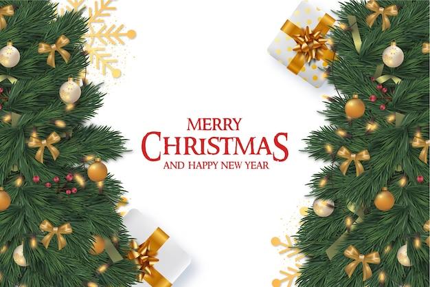 Frohe weihnachten rahmenkarte mit realistischen weihnachtselementen Kostenlosen Vektoren