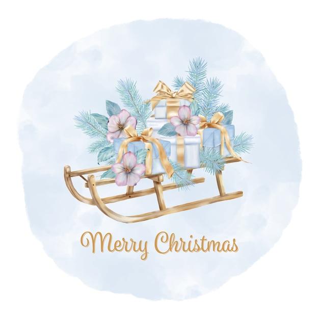 Frohe weihnachten schlitten mit tannenzweigen und geschenkboxen Premium Vektoren