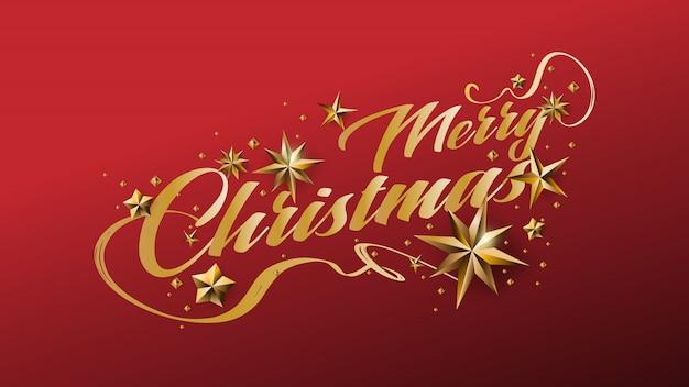 Frohe weihnachten schreibschrift und dekoriert mit goldenen sternen Premium Vektoren