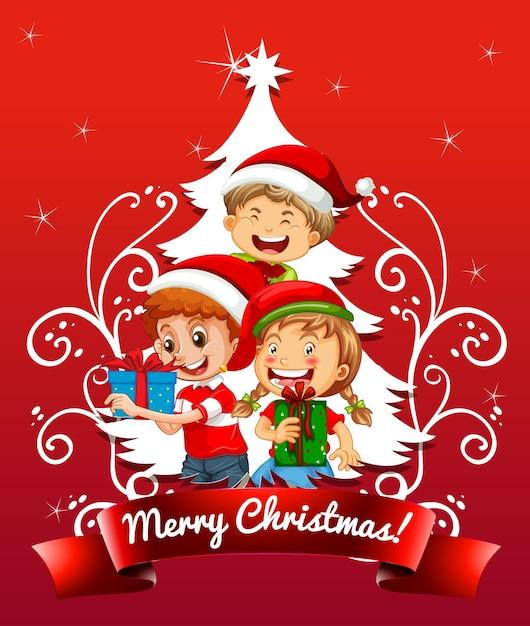 Frohe weihnachten schriftart mit kindern, die weihnachtskostüm auf rotem hintergrund tragen Premium Vektoren
