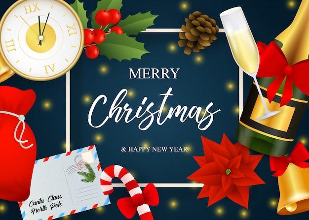 Frohe weihnachten-schriftzug, champagner, uhr, weihnachtsstern Kostenlosen Vektoren
