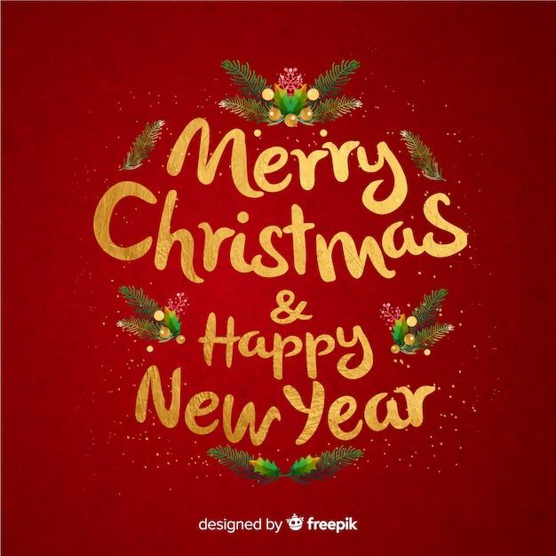 Frohe weihnachten schriftzug & frohes neues jahr Kostenlosen Vektoren