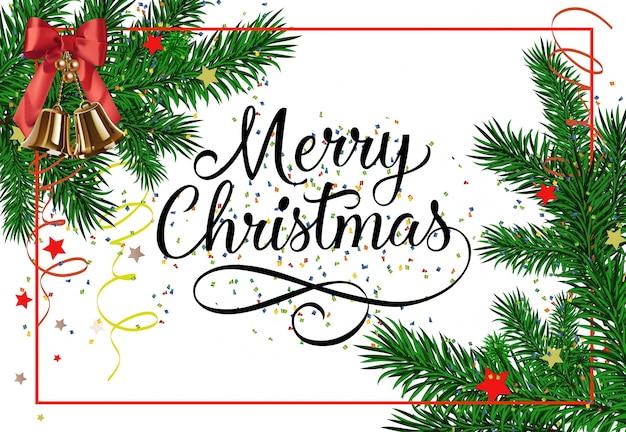 Frohe Weihnachten Rahmen.Frohe Weihnachten Schriftzug Im Rahmen Download Der Kostenlosen Vektor