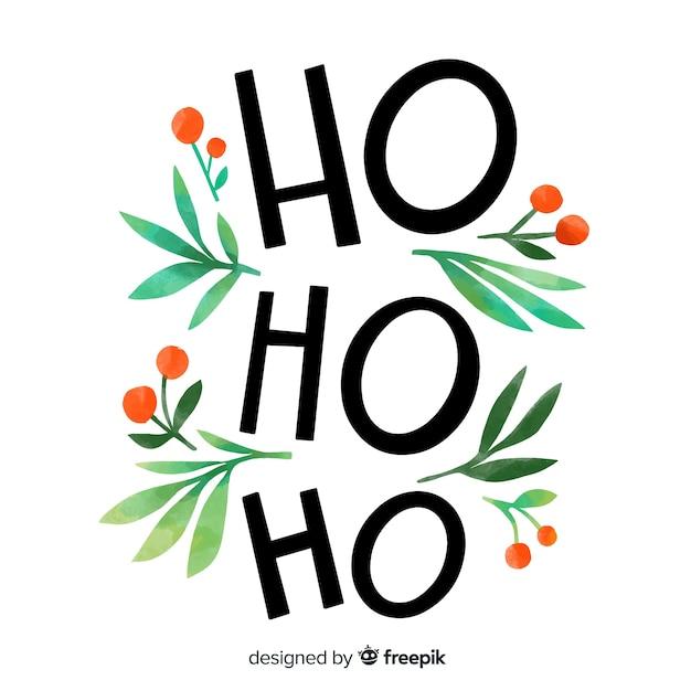 Frohe weihnachten-schriftzug mit ho ho ho Kostenlosen Vektoren