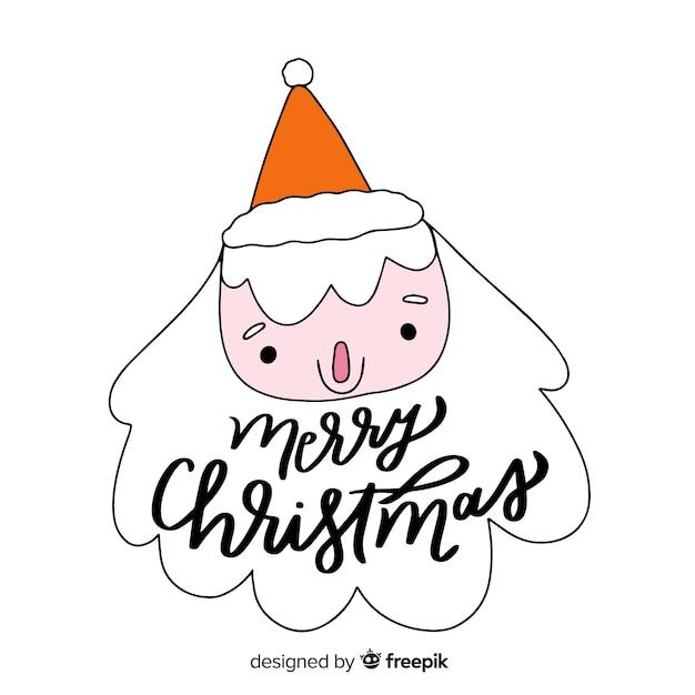 Frohe weihnachten-schriftzug mit santa claus Kostenlosen Vektoren