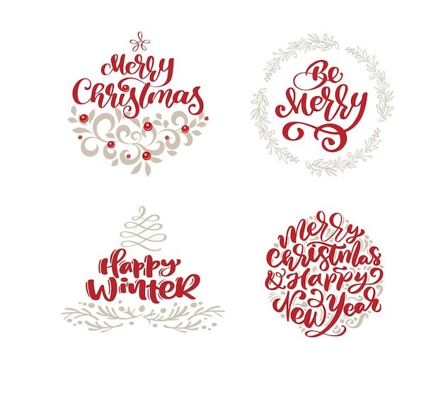 Frohe weihnachten skandinavier set mit vintage-stil-elementen Premium Vektoren